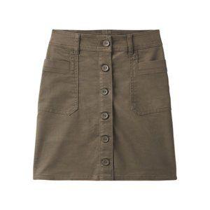 Prana Kara Organic Cotton Button Skirt Slate Green